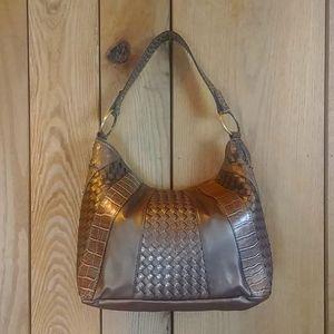 Metallic Bronze Brown Croc Hobo Shoulder Hand Bag